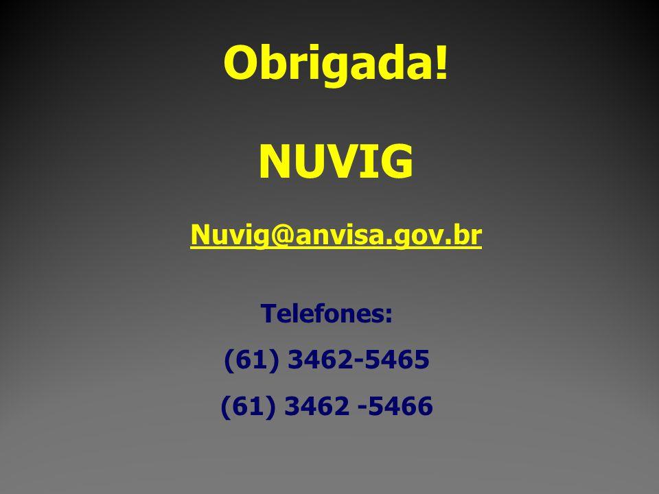 Obrigada! NUVIG Nuvig@anvisa.gov.br Telefones: (61) 3462-5465