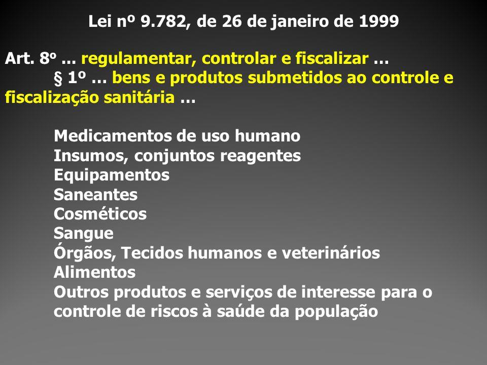 Lei nº 9.782, de 26 de janeiro de 1999 Art. 8o ... regulamentar, controlar e fiscalizar …