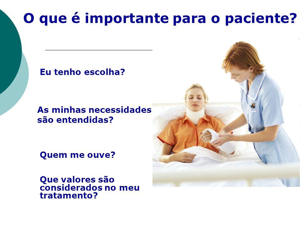 O que é importante para o paciente