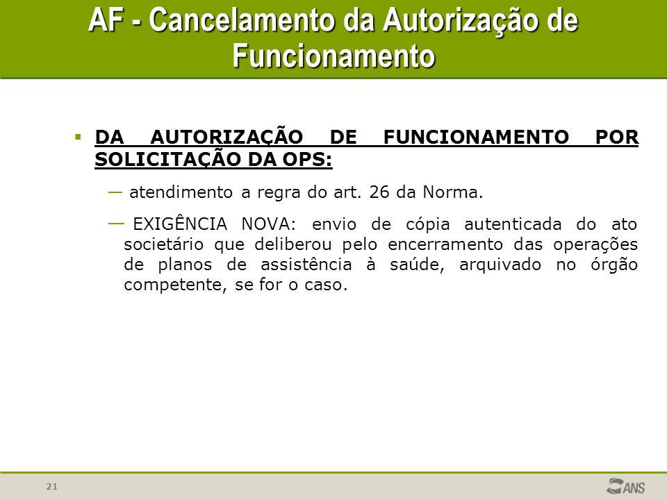 AF - Cancelamento da Autorização de Funcionamento