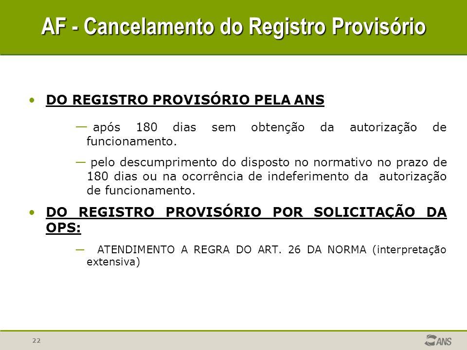 AF - Cancelamento do Registro Provisório