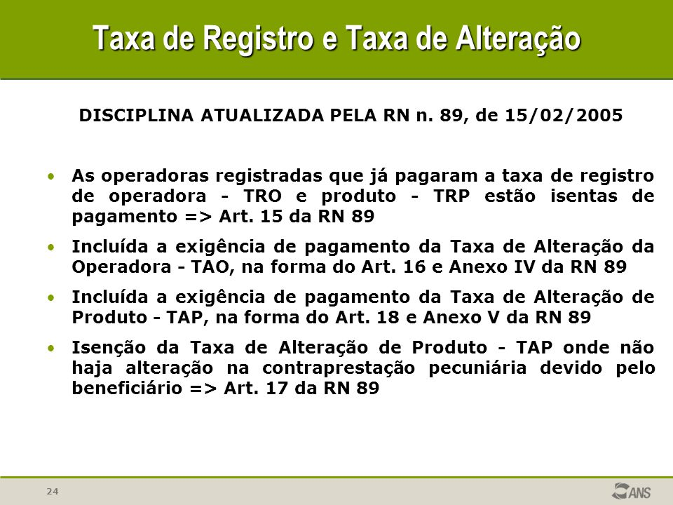 Taxa de Registro e Taxa de Alteração