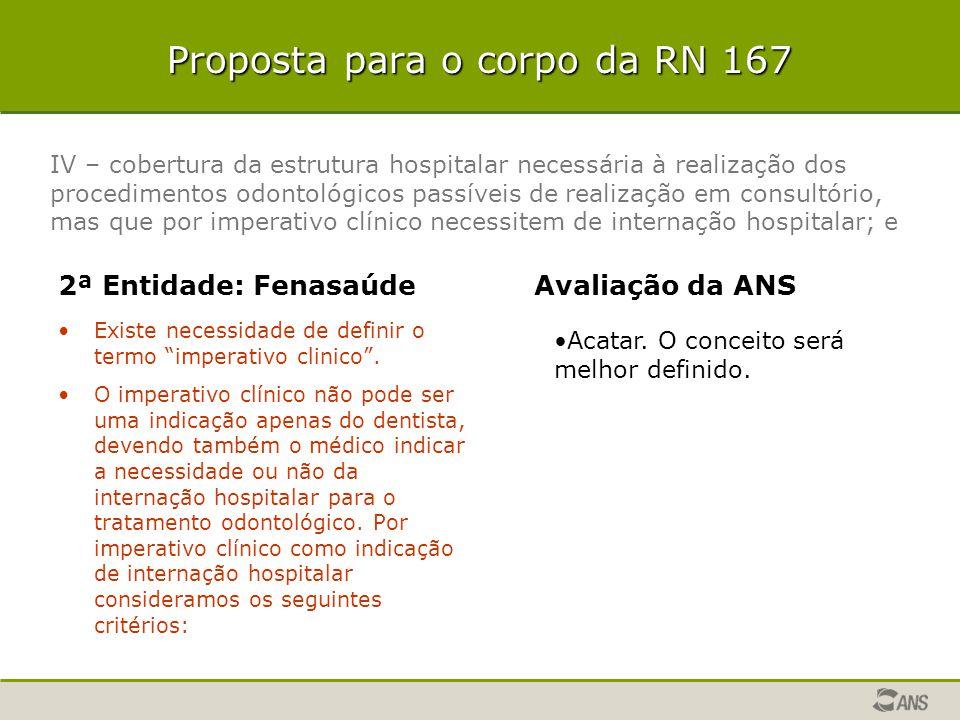 Proposta para o corpo da RN 167