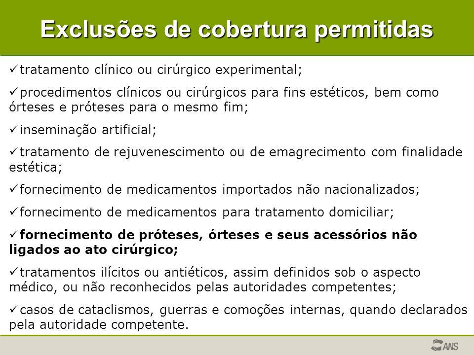 Exclusões de cobertura permitidas