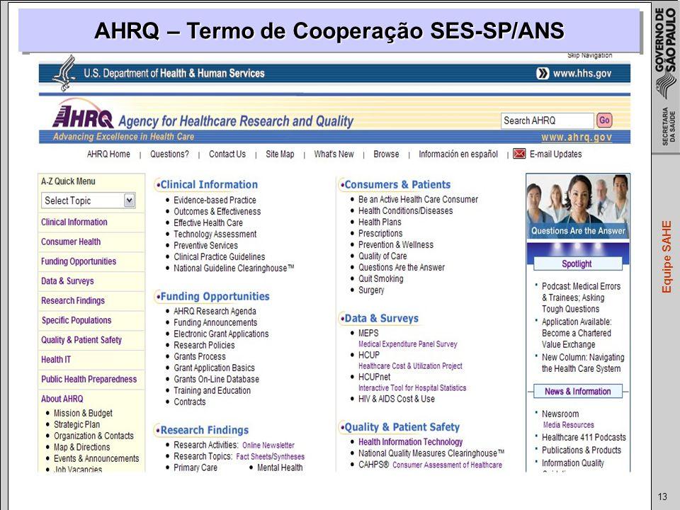AHRQ – Termo de Cooperação SES-SP/ANS
