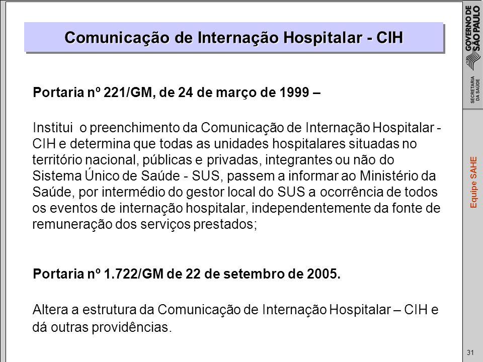 Comunicação de Internação Hospitalar - CIH
