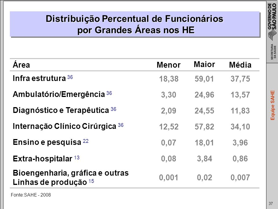 Distribuição Percentual de Funcionários por Grandes Áreas nos HE