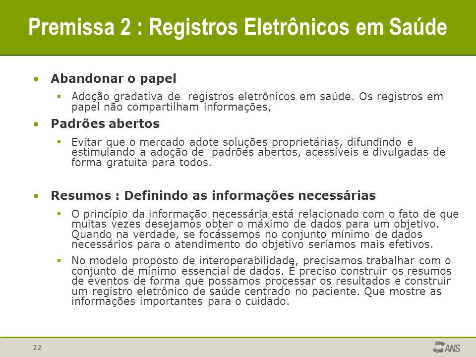 Premissa 2 : Registros Eletrônicos em Saúde