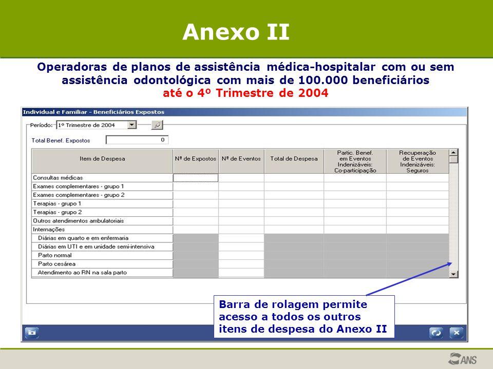 Anexo II Operadoras de planos de assistência médica-hospitalar com ou sem assistência odontológica com mais de 100.000 beneficiários.