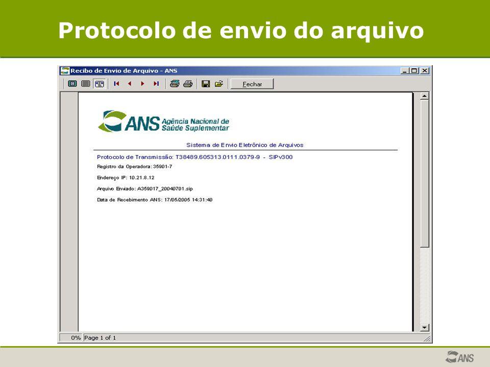 Protocolo de envio do arquivo