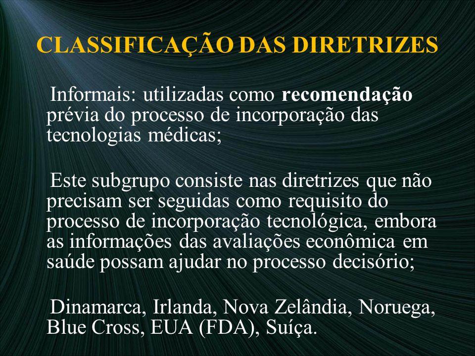 CLASSIFICAÇÃO DAS DIRETRIZES