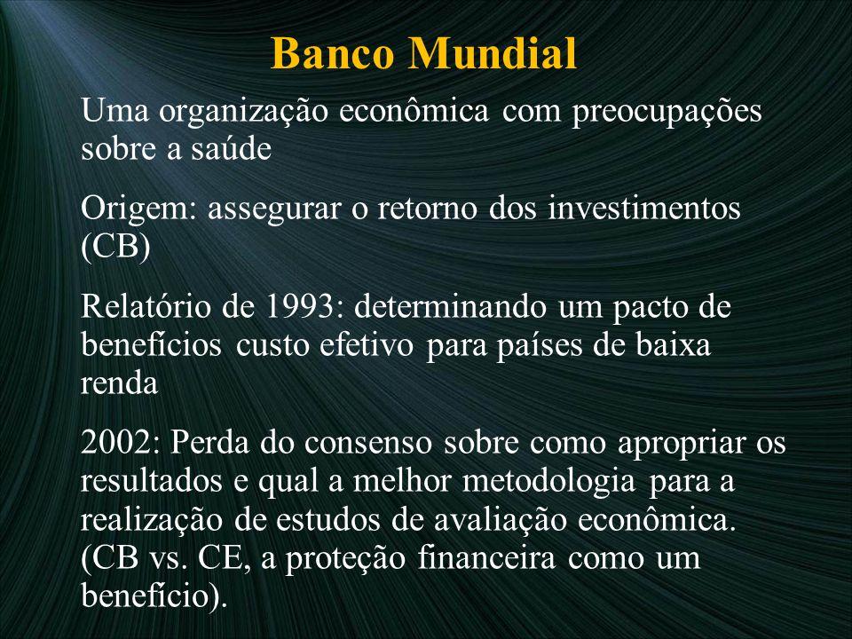 Banco Mundial Origem: assegurar o retorno dos investimentos (CB)