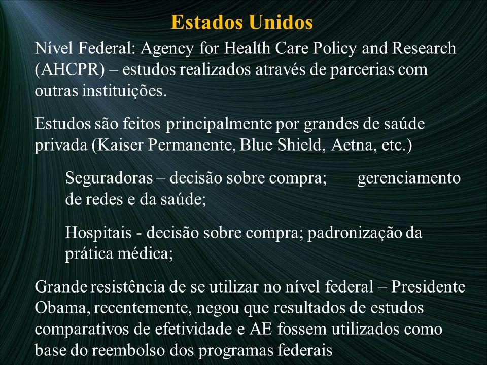 Estados Unidos Nível Federal: Agency for Health Care Policy and Research (AHCPR) – estudos realizados através de parcerias com outras instituições.