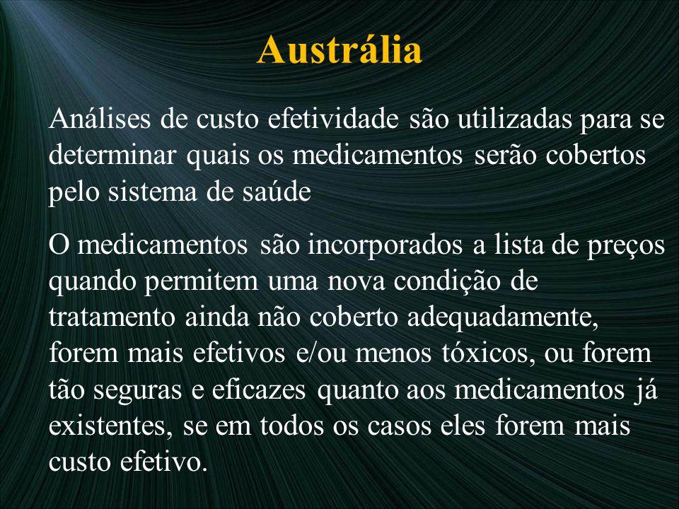 Austrália Análises de custo efetividade são utilizadas para se determinar quais os medicamentos serão cobertos pelo sistema de saúde.