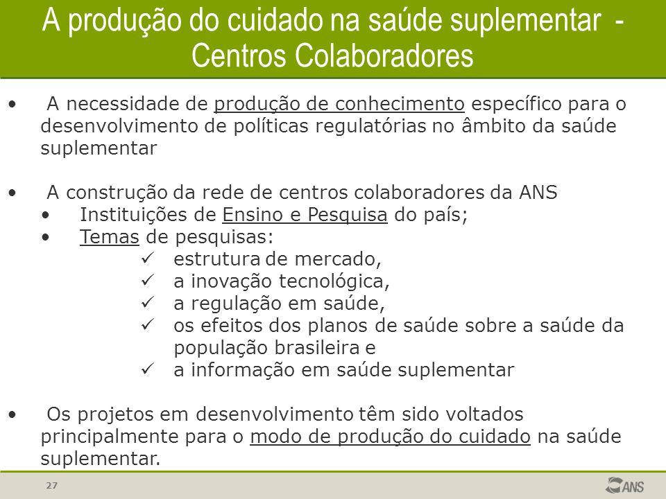 A produção do cuidado na saúde suplementar - Centros Colaboradores