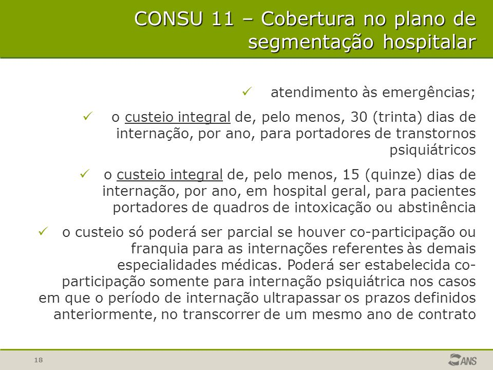 CONSU 11 – Cobertura no plano de segmentação hospitalar