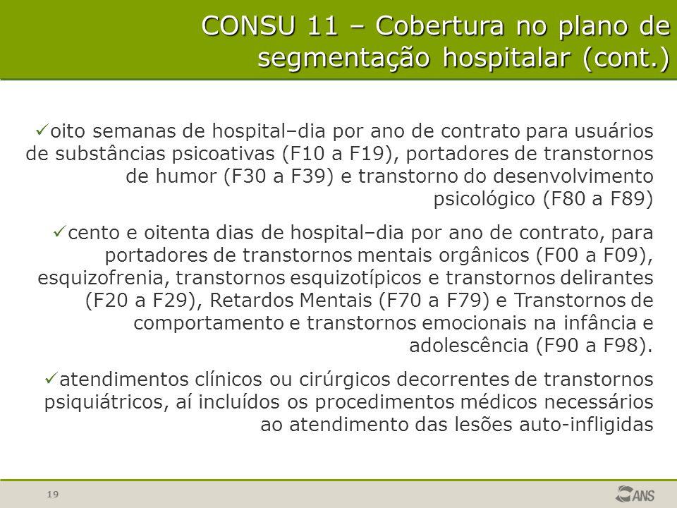 CONSU 11 – Cobertura no plano de segmentação hospitalar (cont.)