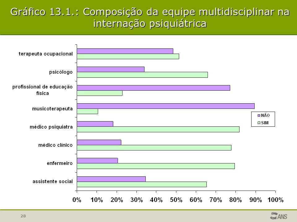 Gráfico 13.1.: Composição da equipe multidisciplinar na internação psiquiátrica