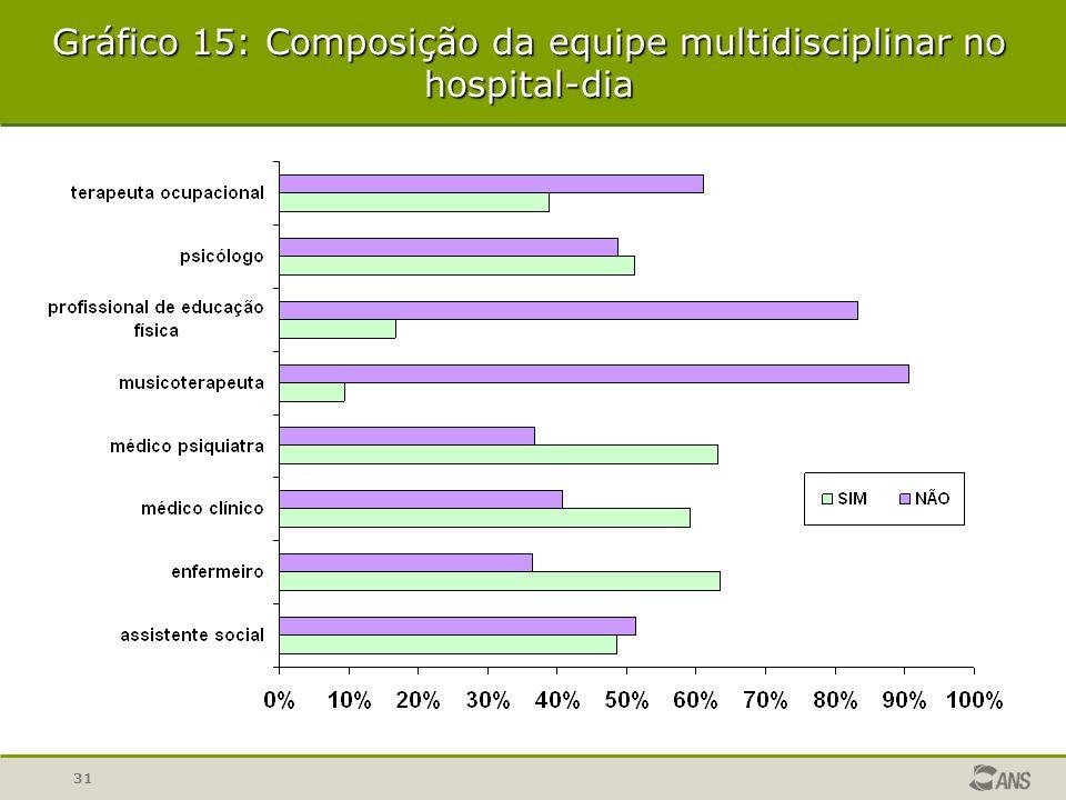 Gráfico 15: Composição da equipe multidisciplinar no hospital-dia