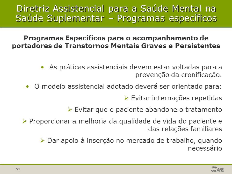 Diretriz Assistencial para a Saúde Mental na Saúde Suplementar – Programas específicos