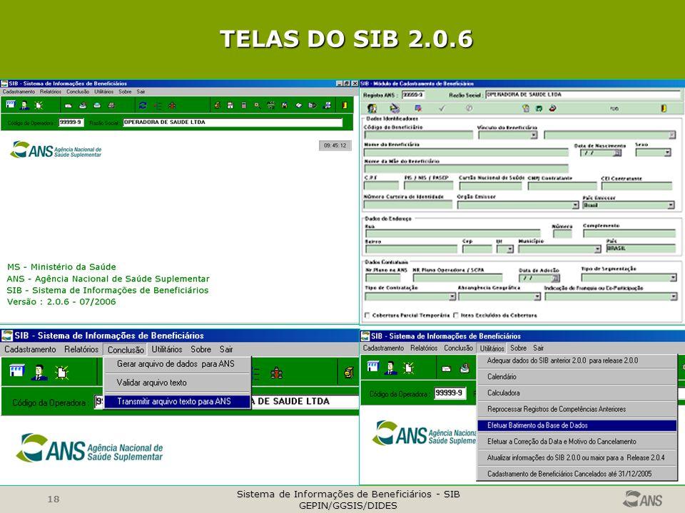 TELAS DO SIB 2.0.6