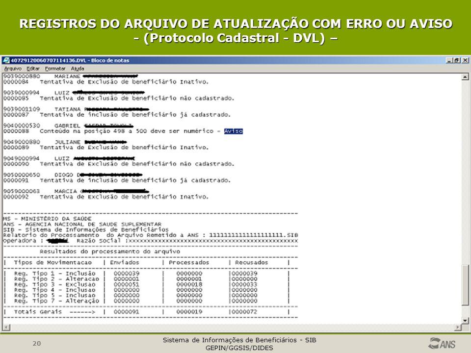 REGISTROS DO ARQUIVO DE ATUALIZAÇÃO COM ERRO OU AVISO - (Protocolo Cadastral - DVL) –