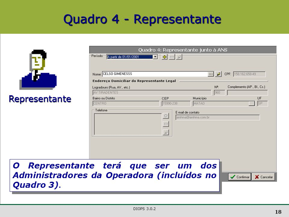 Quadro 4 - Representante
