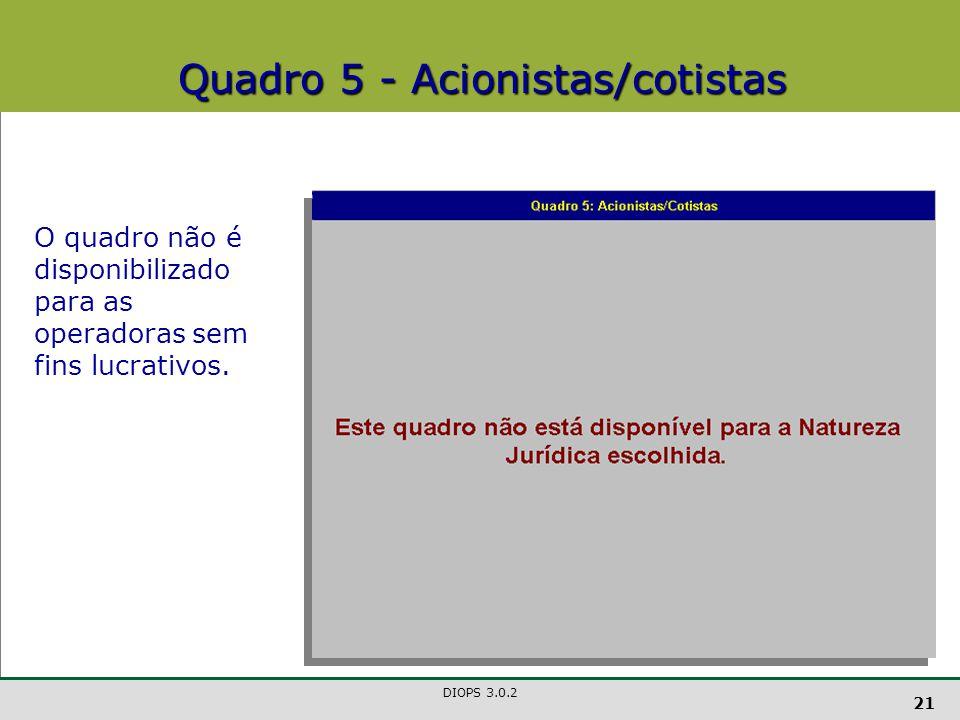Quadro 5 - Acionistas/cotistas