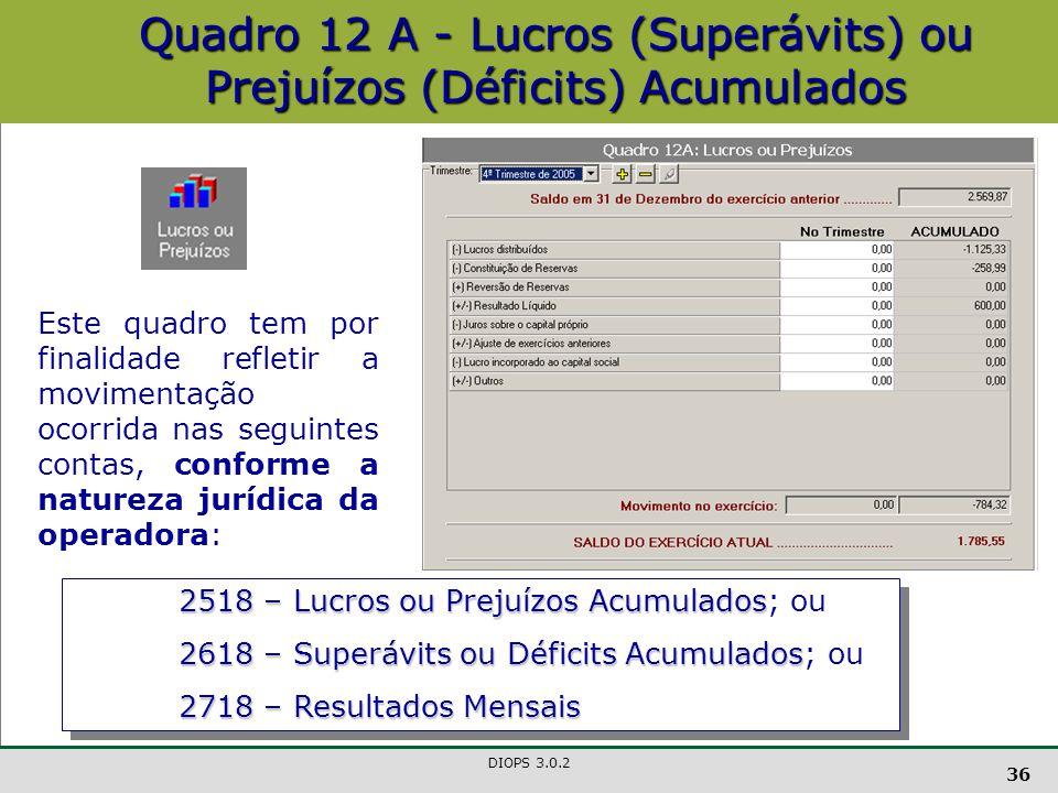 Quadro 12 A - Lucros (Superávits) ou Prejuízos (Déficits) Acumulados