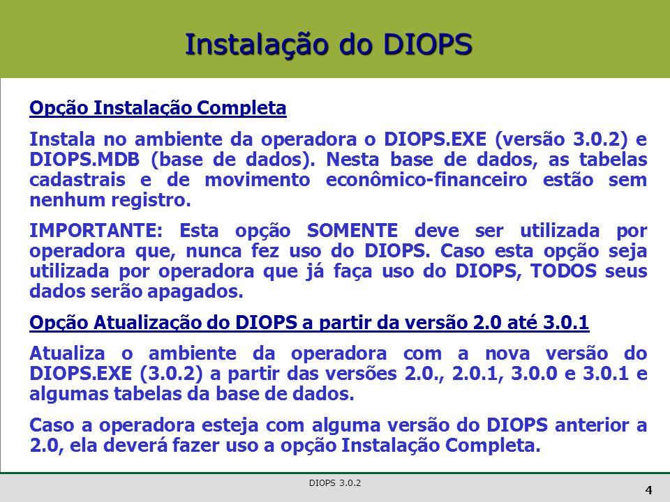 Instalação do DIOPS Opção Instalação Completa