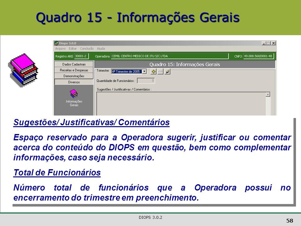 Quadro 15 - Informações Gerais