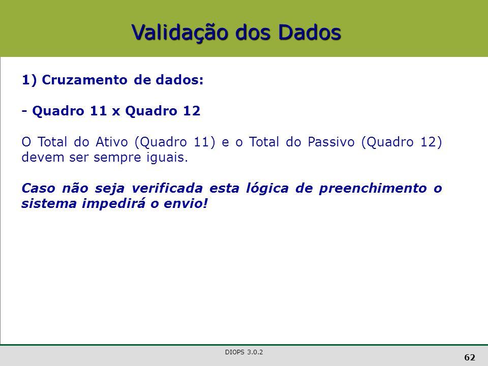 Validação dos Dados 1) Cruzamento de dados: - Quadro 11 x Quadro 12