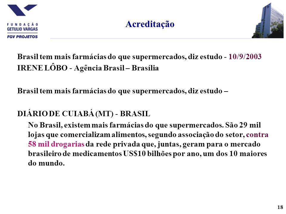 Acreditação Brasil tem mais farmácias do que supermercados, diz estudo - 10/9/2003. IRENE LÔBO - Agência Brasil – Brasília.