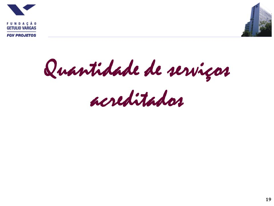 Quantidade de serviços acreditados