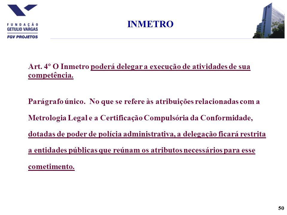 INMETRO Art. 4º O Inmetro poderá delegar a execução de atividades de sua competência.