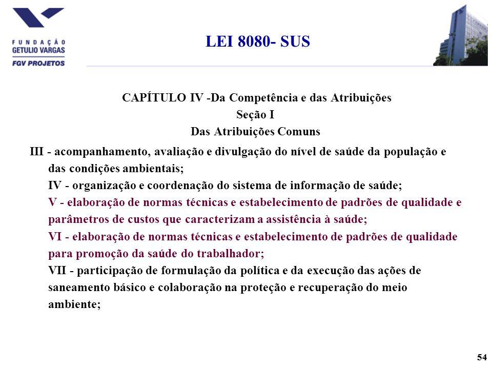 LEI 8080- SUS CAPÍTULO IV -Da Competência e das Atribuições Seção I Das Atribuições Comuns.