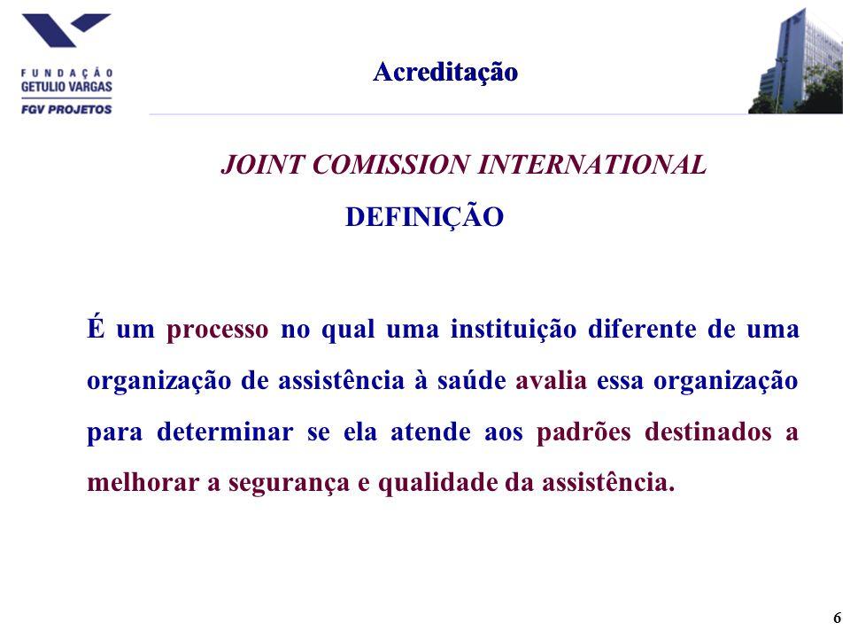 Acreditação Acreditação. JOINT COMISSION INTERNATIONAL. DEFINIÇÃO.