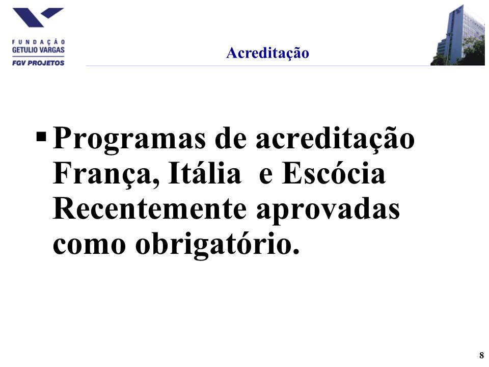Acreditação Programas de acreditação França, Itália e Escócia Recentemente aprovadas como obrigatório.