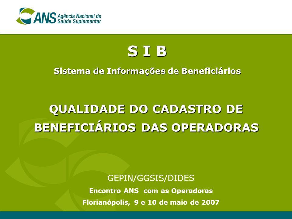 S I B QUALIDADE DO CADASTRO DE BENEFICIÁRIOS DAS OPERADORAS