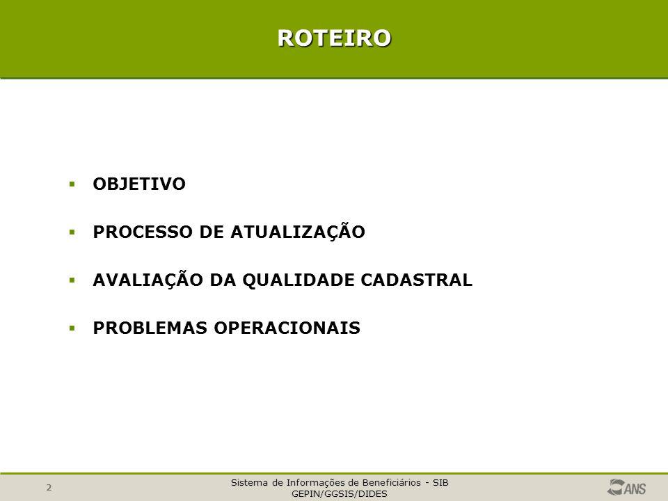 ROTEIRO OBJETIVO PROCESSO DE ATUALIZAÇÃO