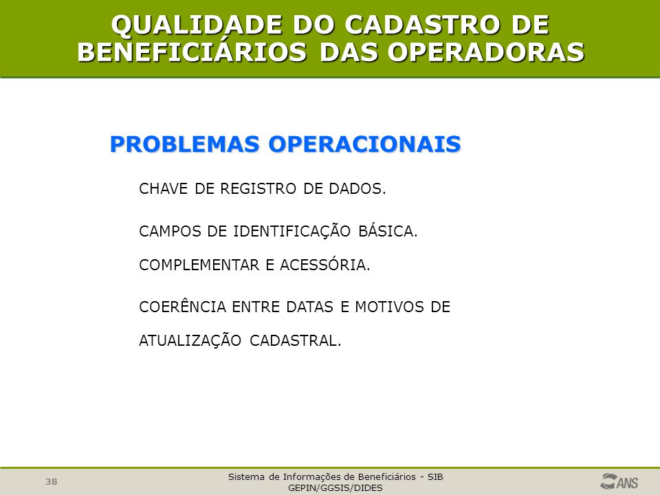 QUALIDADE DO CADASTRO DE BENEFICIÁRIOS DAS OPERADORAS