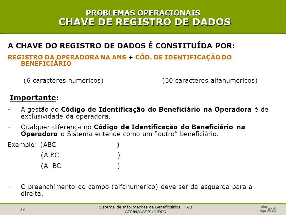 PROBLEMAS OPERACIONAIS CHAVE DE REGISTRO DE DADOS