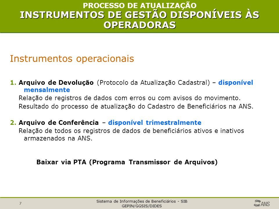Baixar via PTA (Programa Transmissor de Arquivos)