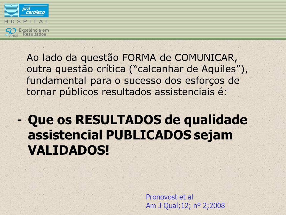 Ao lado da questão FORMA de COMUNICAR, outra questão crítica ( calcanhar de Aquiles ), fundamental para o sucesso dos esforços de tornar públicos resultados assistenciais é: