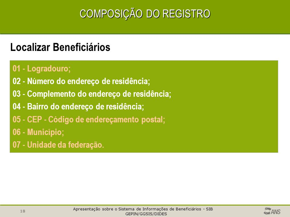 COMPOSIÇÃO DO REGISTRO