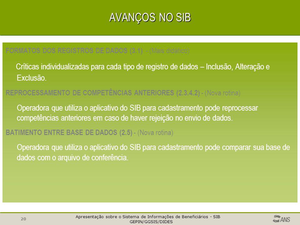 AVANÇOS NO SIB FORMATOS DOS REGISTROS DE DADOS (3.1) - (Mais didático)