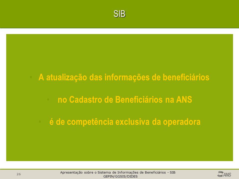 A atualização das informações de beneficiários