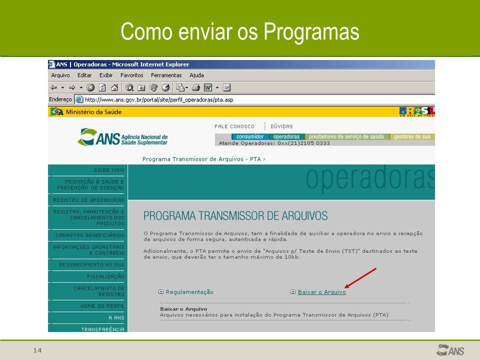 Como enviar os Programas