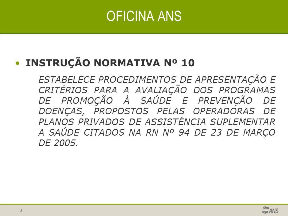 OFICINA ANS INSTRUÇÃO NORMATIVA Nº 10