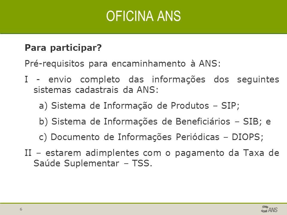 OFICINA ANS Para participar Pré-requisitos para encaminhamento à ANS: